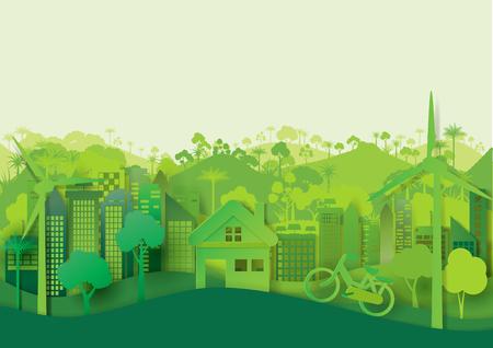 Groene eco stadsgezicht