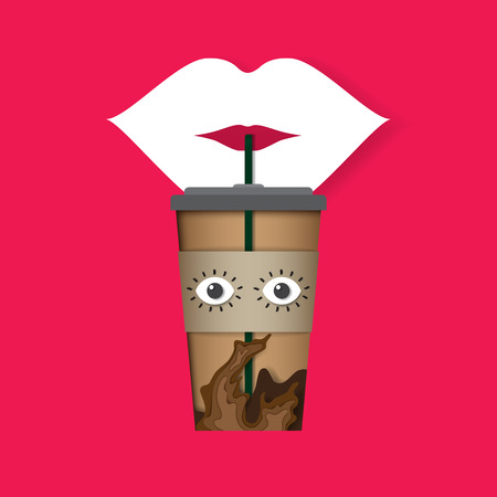 Lip drink ice coffee from coffee cup paper cut carving style design.Vector illustration.