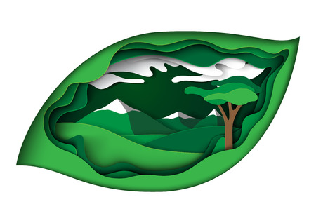 Ecology concept in green leaf paper carve background.Nature landscape and environment conservation paper art style design template.Vector illustration.