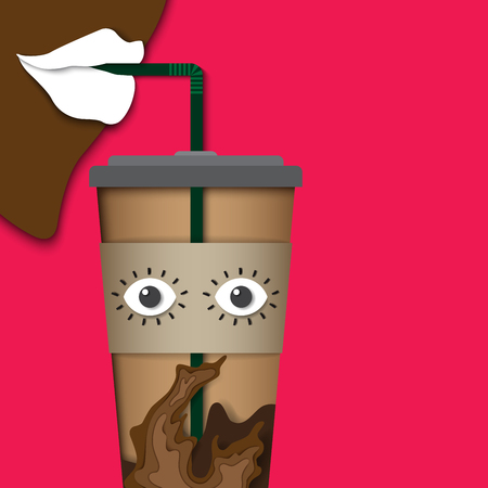 コーヒーカップペーパーカット彫刻スタイルデザインからアイスコーヒーをリップドリンク。ベクトルイラスト。