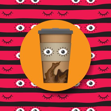 コーヒー カップのアイコン紙はカット スタイルのデザインです。ベクトルの図。  イラスト・ベクター素材