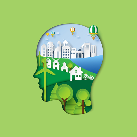 Human head thinking environment conservation paper art style of green nature and eco friendly concept idea.Vector illustration. Illustration