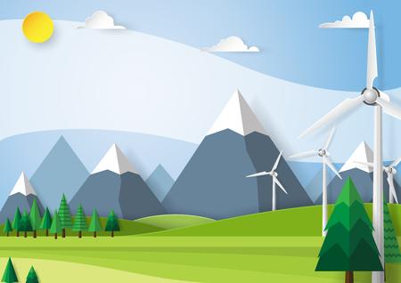 Nature landscape an environment conservation concept design in paper art style illustration.