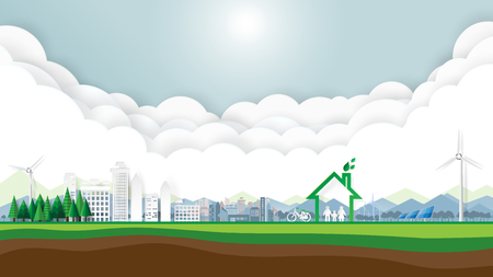Green city and eco friendly with clouds and blue sky.Save the world and environment conservation concept.Paper art style.Vector illustration. Çizim