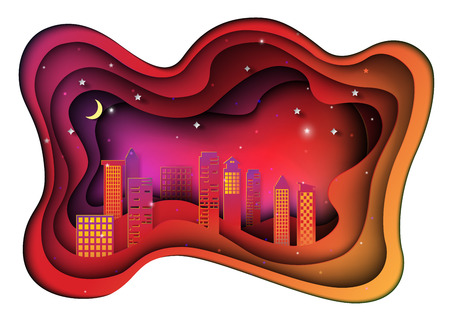 Abstract retro night city background.Paper art style vector illustration.