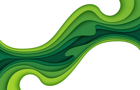 Abstract green layers paper carve background.Paper art style of nature concept design.Vector illustration. Ilustrace