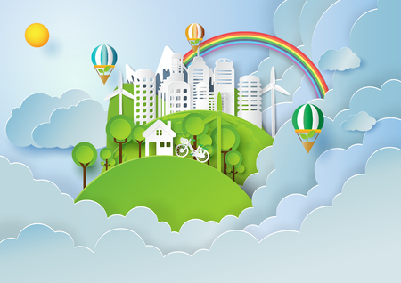 Save the world with environment conservation concept.Paper art style of nature landscape and green eco city of renewable energy.Vector illustration. 向量圖像