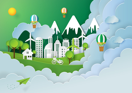 Paper art style of nature landscape and green eco city of renewable energy with environment conservation creative concept idea. Ilustração