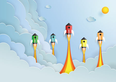 Rocket ship flying on cloud and blue sky.Paper art style of start up and business team work creative concept idea.Vector illustration.