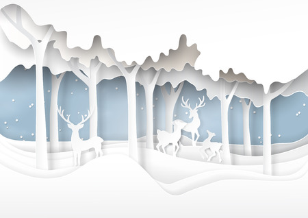 Nature landscape and deers family on snow winter illustration.