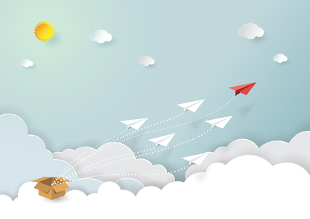 Paper airplanes flying on blue sky and cloud.Paper art style of start up and business teamwork creative concept idea.Vector illustration