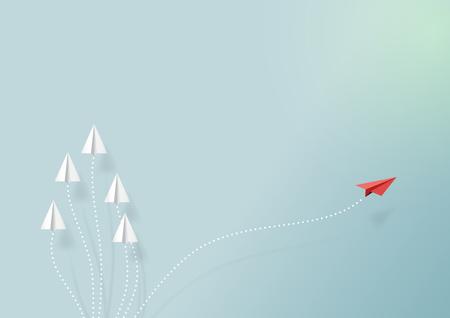 Avions en papier volant sur le ciel bleu et nuage. Style de papier art du travail d'équipe entreprise et une idée de concept créatif vision différente. Illustration vectorielle Vecteurs