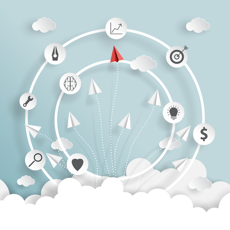 A paper airplanes on blue sky and clouds of business strategy creative idea concept paper art style.Vector illustration. Ilustração