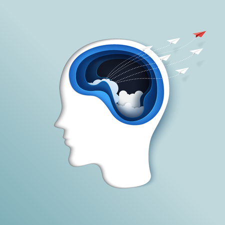 Denken an Freiheit oder Geschäftskonzept Papierschnitzen des Gehirns mit den Papierflugzeugen, die von der Papierartkunst des menschlichen Kopfes fliegen. Vektorillustration.
