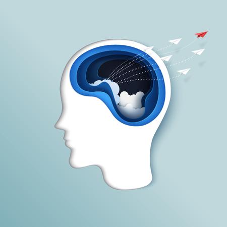 Pensée de la liberté ou le concept d'entreprise. Découpage du papier du cerveau avec des avions en papier volant de style art papier tête humaine. Illustration vectorielle.