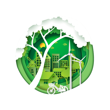Green eco friendly city and save energy creative idea concept.Paper carving nature landscape and environment conservation paper art style.Vector illustration.