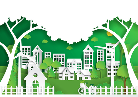 Nature landscape paper art style, Green eco friendly city and renewable energy of environment conservation concept. Ilustração