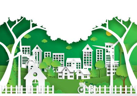 Style d'art de paysage nature papier, ville respectueuse de l'environnement vert et énergie renouvelable du concept de conservation de l'environnement. Banque d'images - 92401101