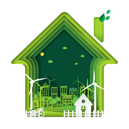 Green living house with eco city abstract paper art background.Ecology and environment conservation with nature concept.