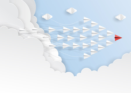 Paper airplanes in form of arrow shape flying from clouds on blue sky.Paper art style of business teamwork creative concept idea.Vector illustration