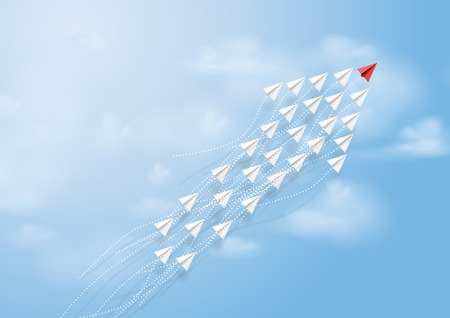 Paper airplanes in form of arrow shape flying on blue sky.Paper art style of business teamwork creative concept idea.Vector illustration