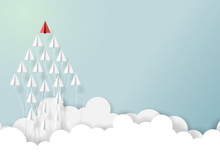 Paper airplanes in form of arrow shape flying from clouds on blue sky concept illustration.
