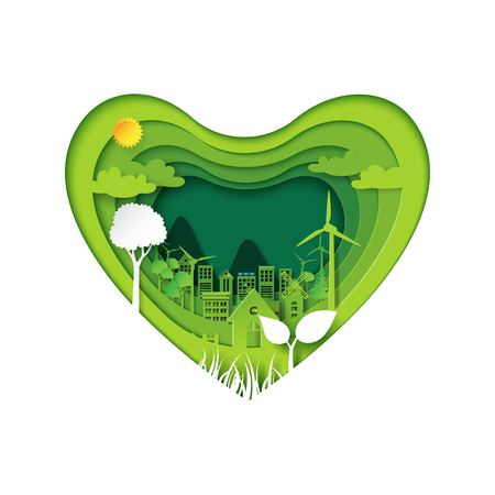 Green heart with eco city abstract paper art background.Ecology and environment conservation with love nature concept.Vector illustration.