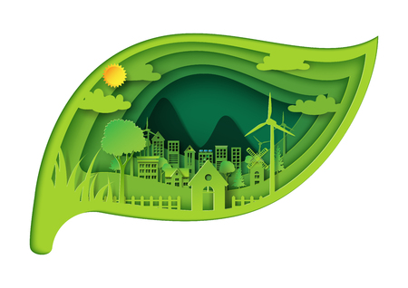 Green eco friendly city and environment conservation concept design with leaf shape of paper art style.Vector illustration. Vettoriali