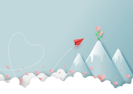 Paper art style of valentines day greeting card and love concept.Origami red paper airplane flying to love plant on top of mountain.Vector illustration.