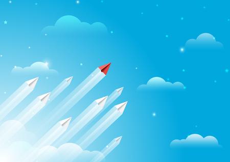Aviones de papel volando desde las nubes en el cielo azul. Estilo de arte de papel de liderazgo empresarial y trabajo en equipo idea de concepto creativo. Ilustración de vector