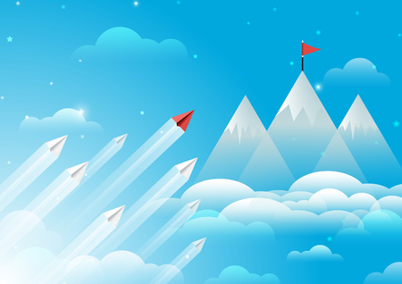 Paper airplanes flying from clouds to red flag on top of mountain.Paper art style of business leadership and teamwork creative concept idea.Vector illustration Ilustração