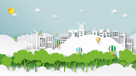 Nature landscape and green energy concept.Eco friendly city and urban forest for environment conservation paper art style.Vector illustration. Ilustração