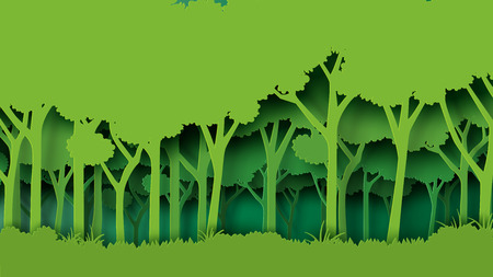 Eco green nature forest background template.Forest plantation with ecology and environment conservation creative idea concept paper art style.
