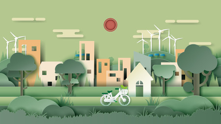 Green eco friendly city and urban forest landscape abstract background.Nature and environment conservation concept paper art design.Vector illustration.