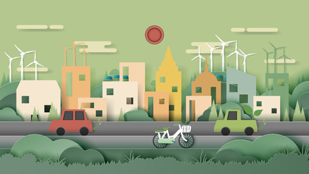 Green nature eco friendly city and urban forest landscape abstract background.Renewable energy for ecology and environment conservation concept paper art design.Vector illustration.