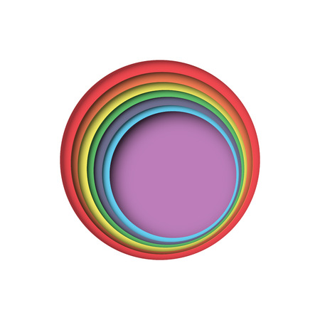 Colorful circle rainbow color with paper cut layers abstract background.Vector illustration. Illustration