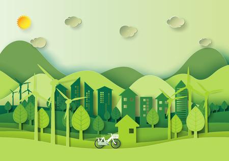 Salvare il concetto di mondo e ambiente. Città verde di Eco e paesaggio urbano per stile di arte di carta di energia verde. Illustrazione di vettore.
