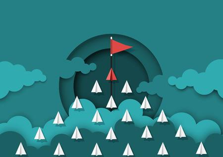 Papierflugzeugteamwork, die zum Ziel der roten Fahne fliegt. Papierschnitt der kreativen Konzeptidee der Geschäftsteamarbeit. Vektor-illustration