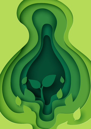 Little plant in green leaf paper layer cut abstract nature background.Ecology and environment conservation concept design paper art style.Vector illustration. Illustration