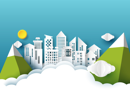 Vector Illustration Origami City With Sunclouds And Mountains On Blue Sky Paper Art StyleNature
