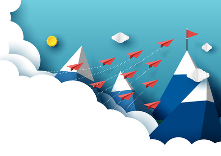 Paper airplanes flying from clouds to red flag on the peak of mountain and blue sky.Paper art style of business teamwork creative idea concept.Vector illustration Çizim