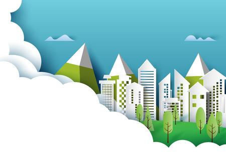 Città verde e natura foresta urbana paesaggio idea creativa concept design.Stile di arte carta di ecologia e conservazione dell'ambiente.Illustrazione di vettore Vettoriali