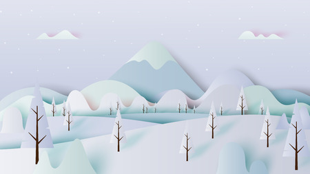 Winter landscape with trees and mountains paper art style design vector illustration. 일러스트