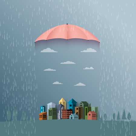 Monsoon background with umbrella protect the city from rain.Flat design vector illustration.