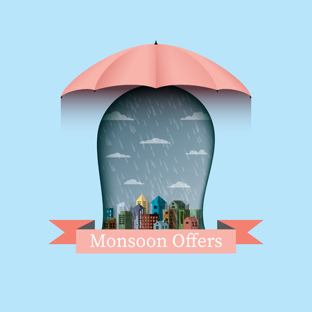 Monsoon offers banner backgroud with umbrella and city.Flat design vector illustration.