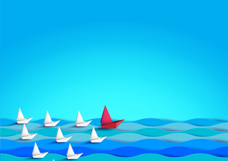 Business teamwork and leadership concept with paper sailboats floating on the sea.Paper art vector illustration.