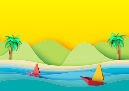 Summer concept.Sailboats on the sea with coconut trees,beach and mountains background.Paper art style vector illustration.