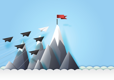 Business teamwork and leadership concept with paper airplanes reach the red flag target.Paper art vector illustration. Illustration