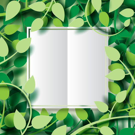 Paper cut of tropical green leaves with white origami paper frame..