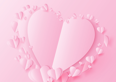 Love concept with origami pink hearts.Paper art style vector illustration.